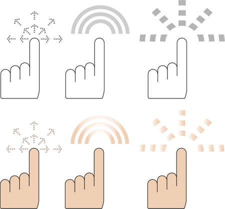 hand finger pointer cursor vector in three different click effect Vector