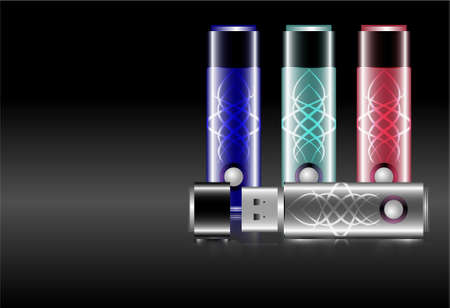 usb drive flash memory stick, portable storage with and witout ornaments, and in a style of its cap on and off Vector