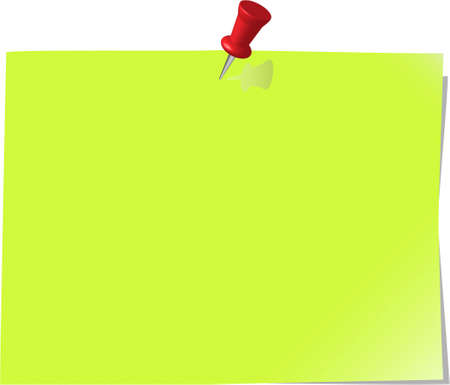 pinned note paper, green Stock Vector - 6081288