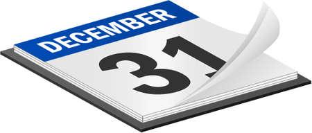 calendario diciembre: 3D de calendario de vector, el 31 de diciembre �ltimo d�a del a�o Vectores