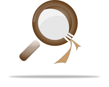 magnifying glass in dark brown tone and with a shade beneath Vector