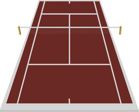 tennis court field in clay Ilustração