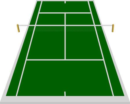 battu: champ de Cour de tennis en vert