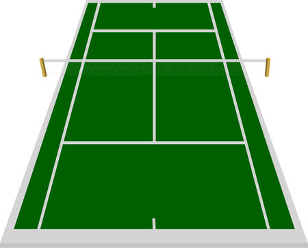tennis court: tennis court field in green
