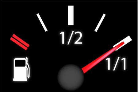 miernik: samochód kreska płyta benzyny gazomierza, skrajnia paliwa w zbiorniku pełnego gazu