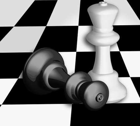 checkmate: king checkmate on chess board with black and white colors Stock Photo