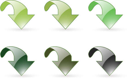 grope: arrow download green button icons in six slightly different green tones