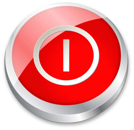 3d OnOff button on red and metallic silver Vector