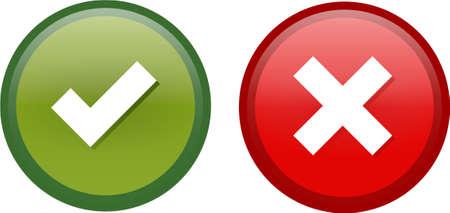 Marque y Cruz botones en colores verdes y rojos Ilustración de vector