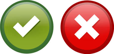 electronic survey: Tick and Cross buttons in green and red colors Illustration