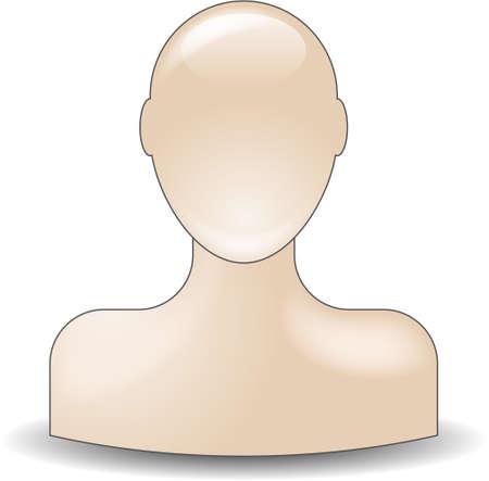 couleur de peau: ic�ne de copain buste dans ton de couleur de peau naturelle  Illustration