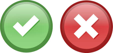 Tick and Cross buttons in green and red colors Vector
