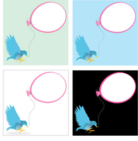 blue bird with a ballon for text Vector