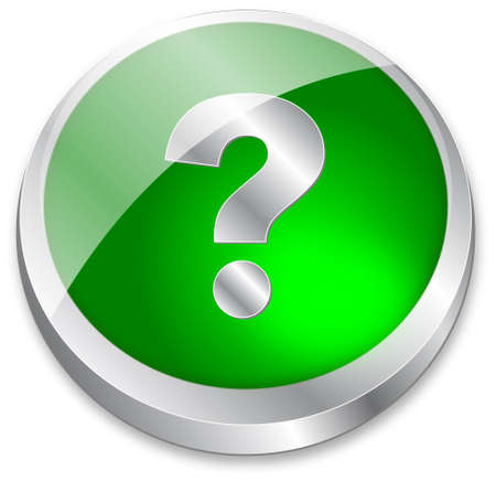 3d question mark button on green and metallic silver Vector