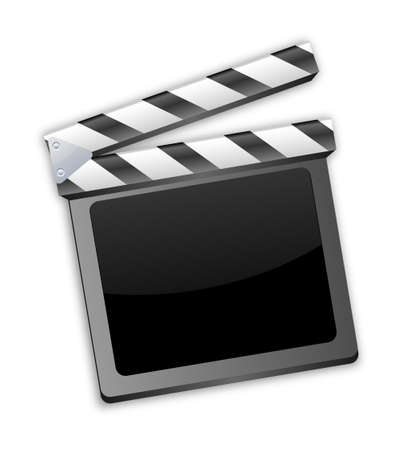 movie clapper, clapboard, clapperboard, film slate in black Vector