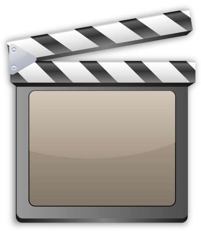 clap: movie clapper, clapboard, clapperboard, film slate in movie color