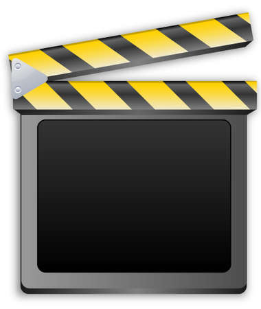 clapper: movie clapper, clapboard, clapperboard, film slate in black and yellow