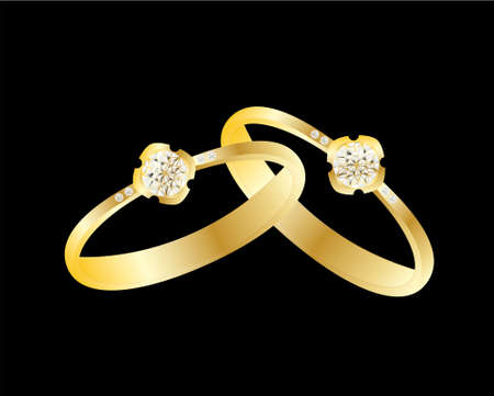 diamond ring in yellow gold and black background Vector
