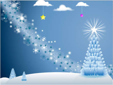 christmas embellishments: White Holiday Scene with snowflakes and Christmas Tree with stars on blue background