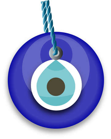 evil eye: blue bead, worn to avert the evil eye Illustration