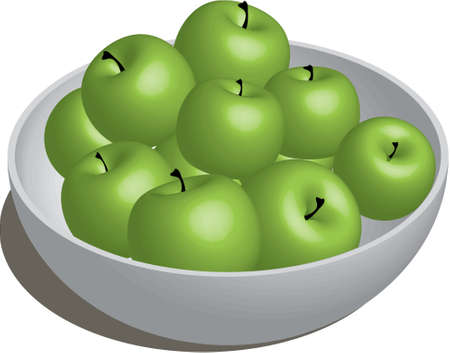 small group of objects: Bowl of Green Apples Illustration