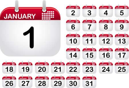 almanak: Volledige, van één tot dertig one, pictogrammen van de kalender voor de maand januari  Stock Illustratie