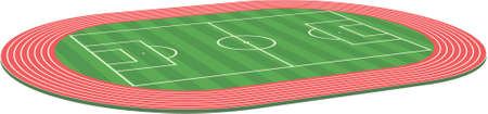 3d three dimensional football soccer field pitch stadium along with racetrack Vector