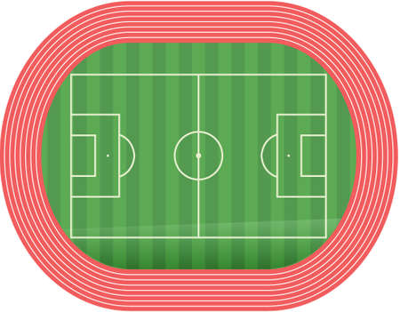 runing: Football soccer field pitch vector along with racetrack