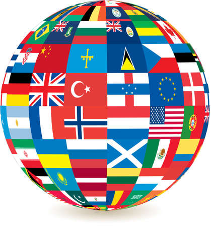 globe of world flags with a drop shadow detail photo