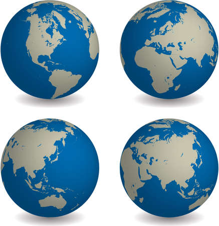viewpoint: world globe in four different global viewpoint in blue tone