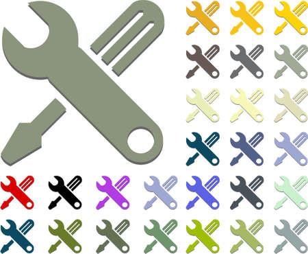 hand tools of wrench and screw driver icon Stock Vector - 6252439