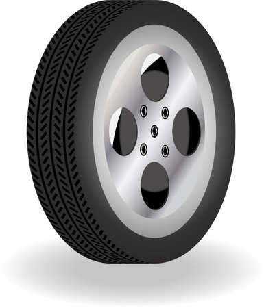 alloy wheel: detailed 3D tire with stripes details Illustration