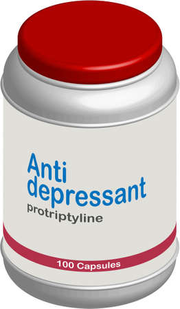 Antidepressant pillbox on white background with red cap Vector