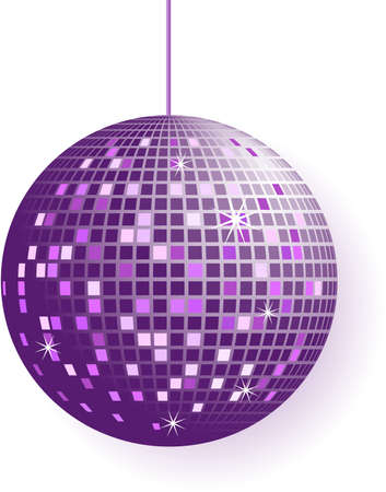 Disco ball in purple tones isolated on white  Vector