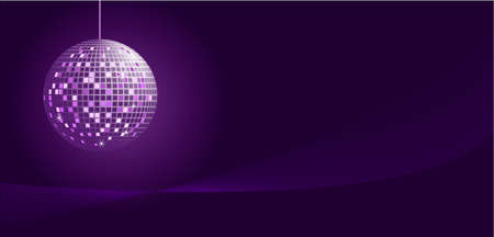 Disco ball in purple tones on white dark background
