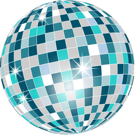 disco ball: Disco ball in green tones isolated on white