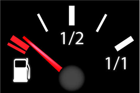 credit crunch: car dash board petrol meter, fuel gauge