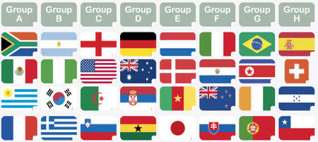 stickers with 2010 FIFA World Cup South Africa national flags  Vector