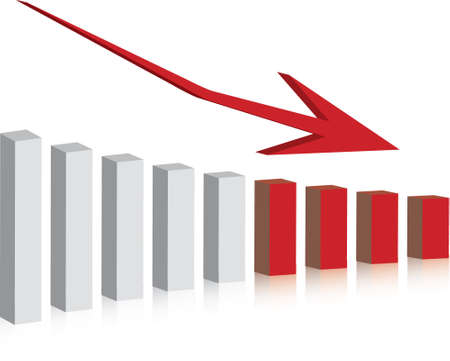 earnings: Diagramm mit R�ckgang in den Gewinn oder den Gewinn in 3D mit Schlagschatten