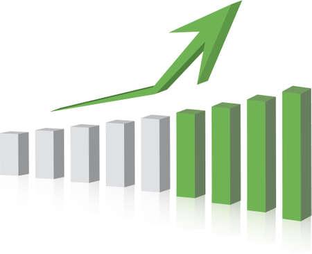 earnings: Grafik, die Anstieg der Gewinne oder Ertr�ge in 3D mit Schlagschatten  Illustration