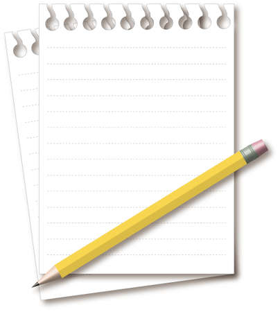yellow pencil with blank notepad isolated on white Vector