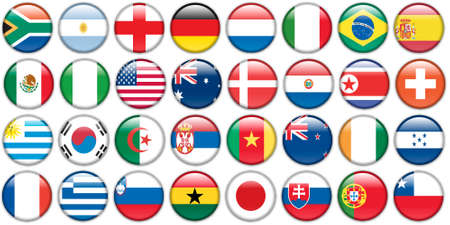 destinations: stickers buttons of national flags Illustration