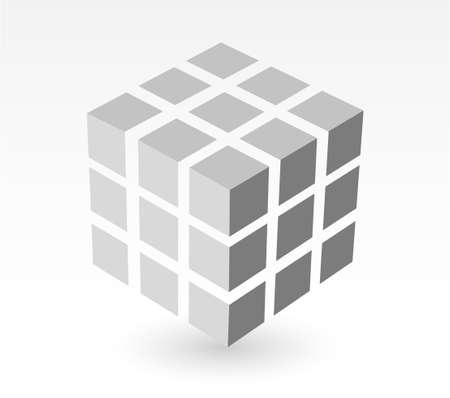 square detail: bloque de cubo blanco sucio con sombra paralela