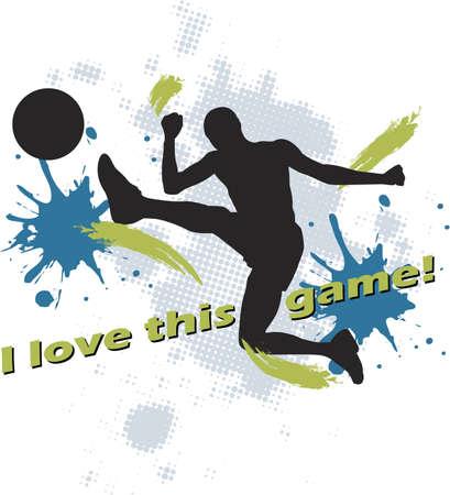 attribute: voet bal ontwerp van voet bal kicking man