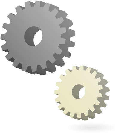 3d dimensional: 3d dimensional gear of gray and dirty white or cream colors