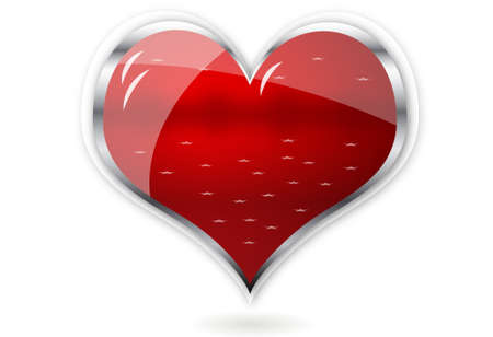 red shiny vector heart for valentines day Vector