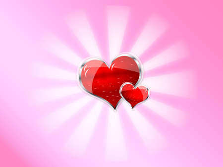 red shiny vector heart for valentines day on pink background Vector