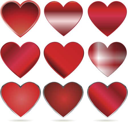 shiny red vector hearts for valentines day Vector