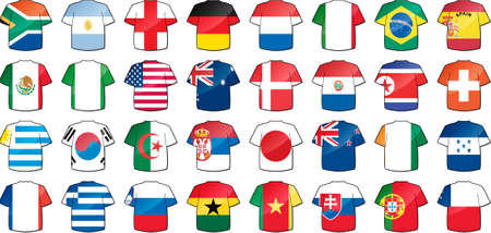 team sport: uniforms of national flags participating in world cup with glow and drop shadow