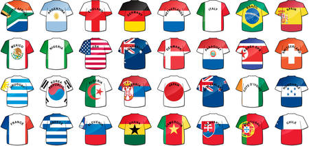 uniforms of national flags participating in world cup with glow and drop shadow  Stock Vector - 6430424